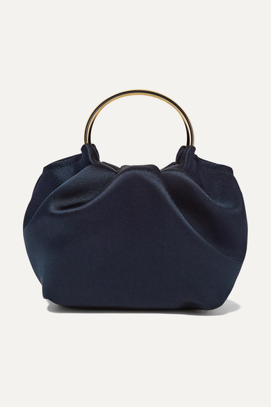 Double Circle Micro Satin Tote in Navy