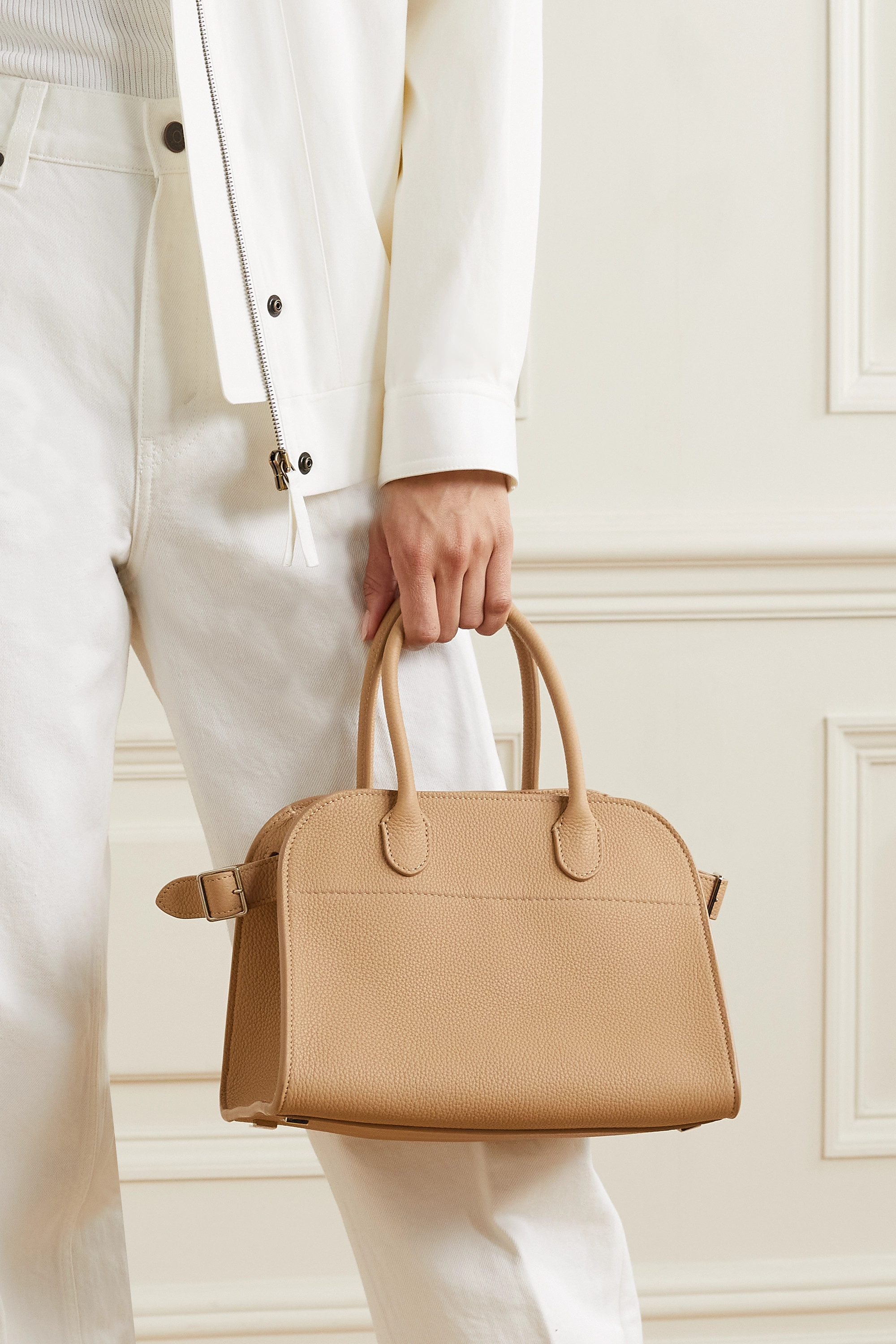 The Row Margaux 10 buckled textured-leather tote