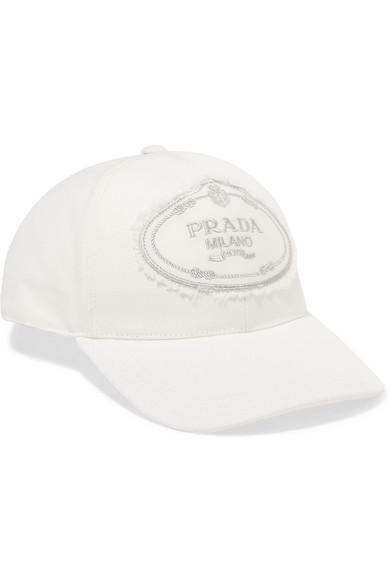 8d31e6c9b63704 Prada | Embroidered cotton-canvas baseball cap | NET-A-PORTER.COM