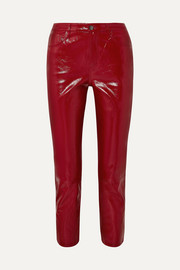 Ruby cropped high-rise slim-leg patent-leather jeans