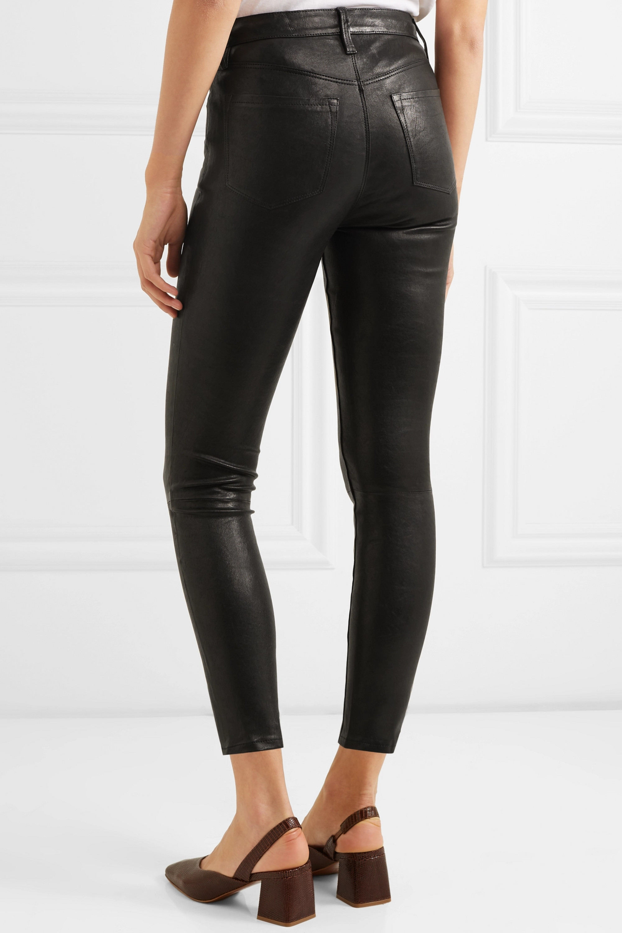 J Brand Alana cropped leather skinny pants