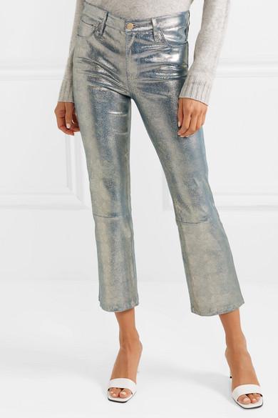 b838962407f J Brand | Selena cropped metallic snake-effect leather flared pants ...