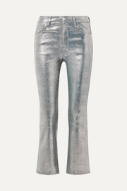 Selena cropped metallic snake-effect leather flared pants