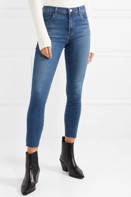 Alana cropped frayed high-rise skinny jeans