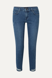 Sadey cropped distressed mid-rise slim-leg jeans
