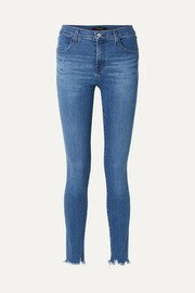Maria frayed high-rise skinny jeans