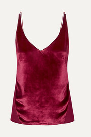Lucy velvet and silk-georgette camisole