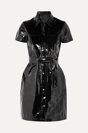 Lucille belted patent-leather mini shirt dress