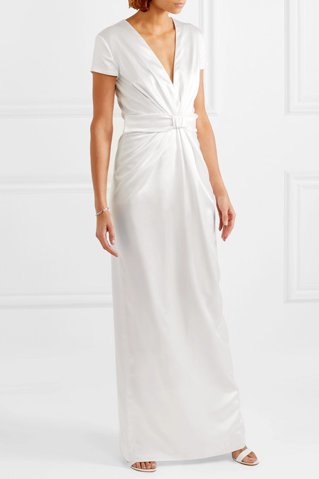 Beatrice bow-embellished ruched silk-satin gown