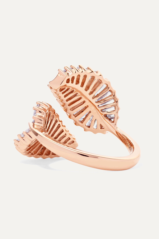 Anita Ko Palm Leaf 18-karat rose gold diamond ring
