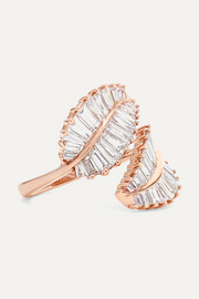 Palm Leaf 18-karat rose gold diamond ring
