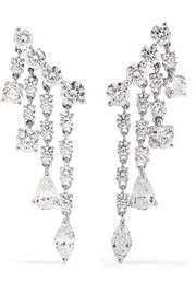 Rain Drop 18-karat white gold diamond earrings