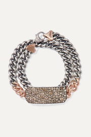 14-karat rose gold, sterling silver and diamond bracelet