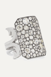 18-karat white gold, sterling silver and diamond ring
