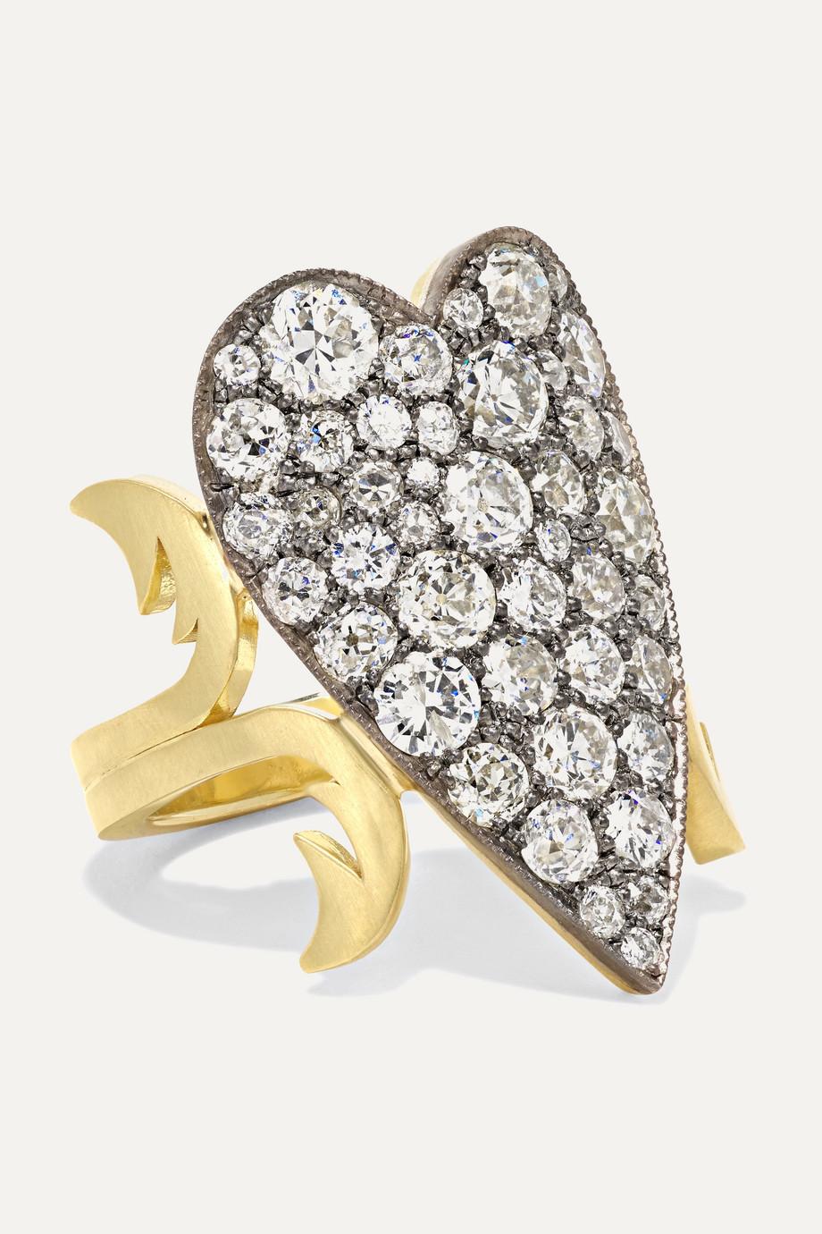 Sylva & Cie Ring aus 18 Karat Gold und Sterlingsilber mit Diamanten