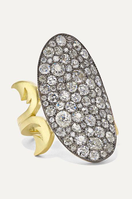 Gold 18-karat gold, sterling silver and diamond ring | Sylva & Cie 8q4APu