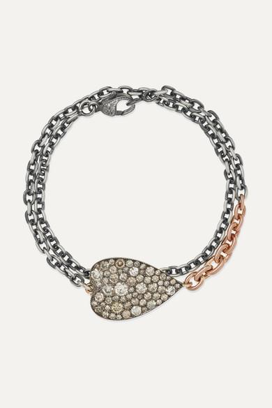 SYLVA & CIE 14-Karat Rose Gold, Sterling Silver And Diamond Bracelet