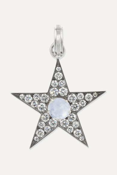 SYLVA & CIE 18-Karat White Gold, Sapphire And Diamond Pendant