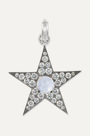 18-karat white gold, sapphire and diamond pendant