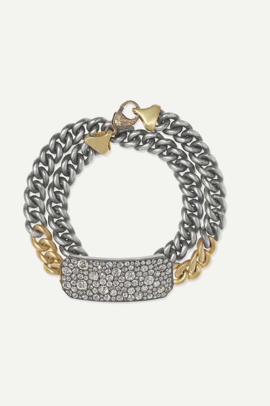 Sylva & Cie 18-karat gold, sterling silver and diamond bracelet