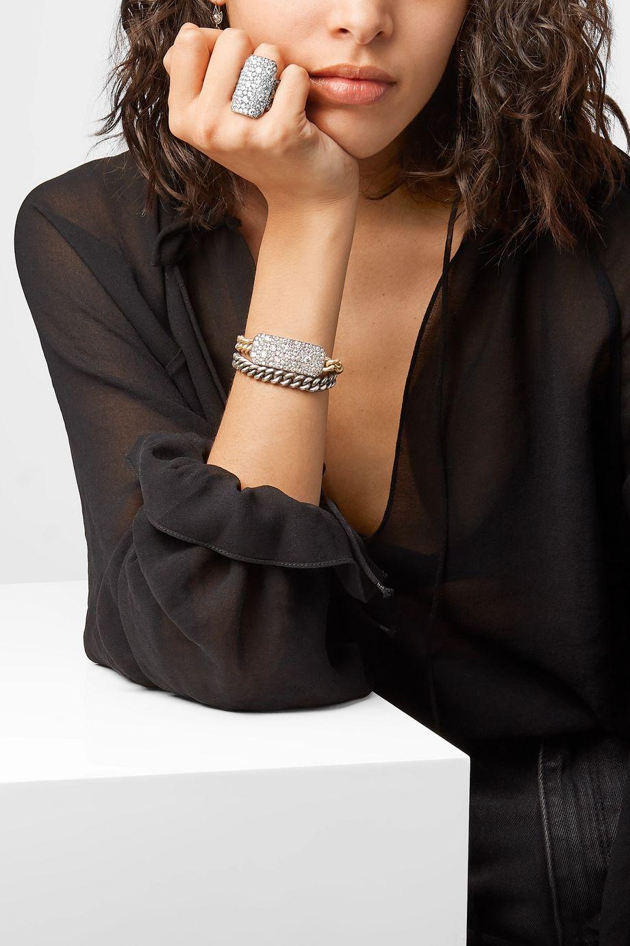 Sylva & Cie 18-karat white gold, sterling silver and diamond ring