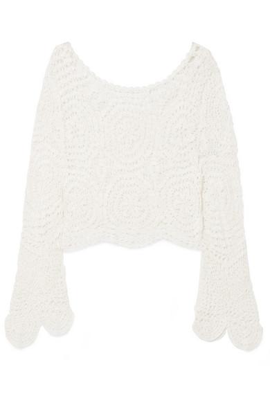LOVESHACKFANCY | LoveShackFancy - Alicia Crocheted Lace Top - Off-white | Goxip