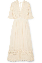 Delfina ruffled broderie anglaise voile dress