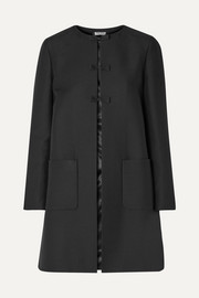 Bow-embellished wool and silk-blend coat