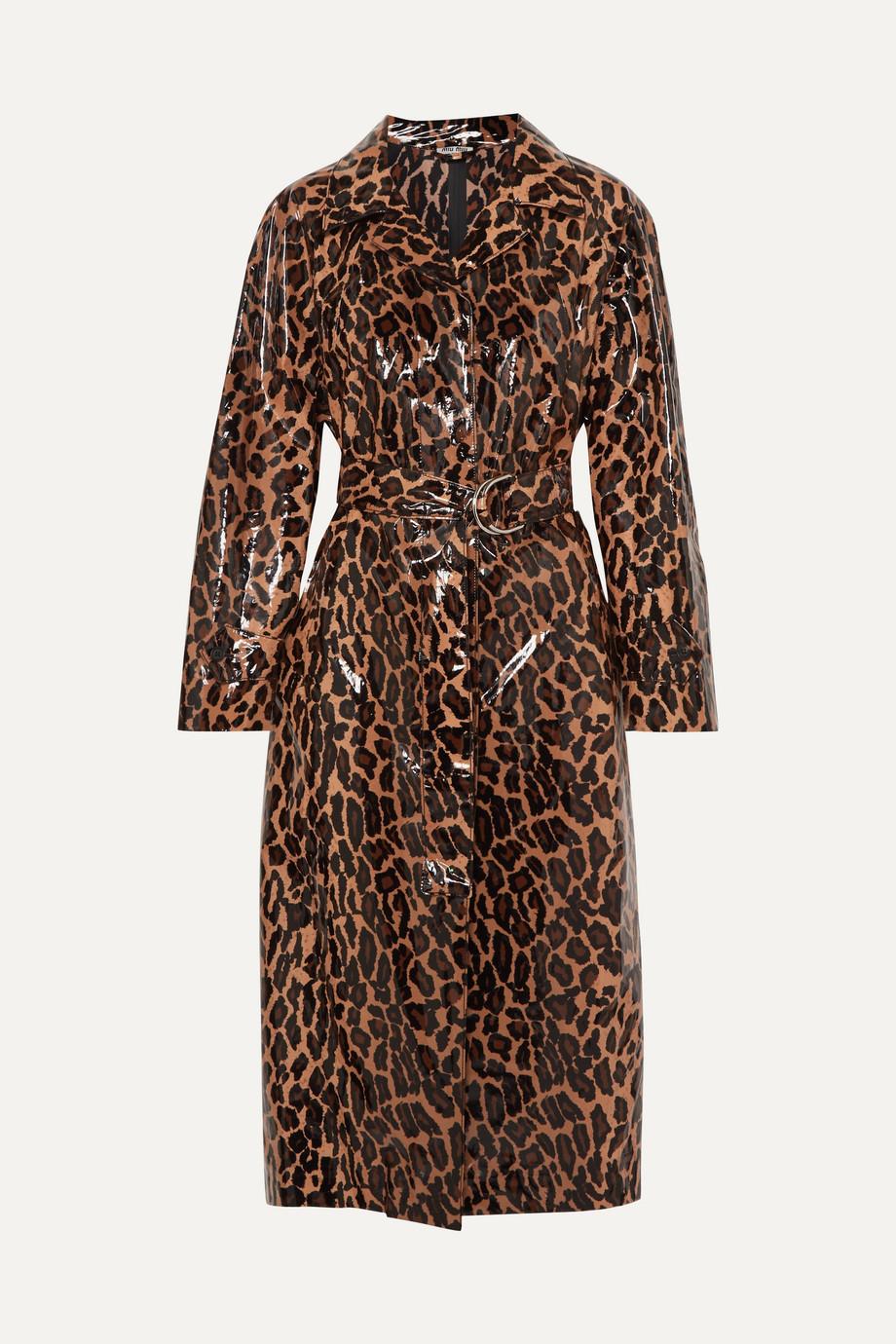 Miu Miu Belted leopard-print glossed-PU cotton trench coat