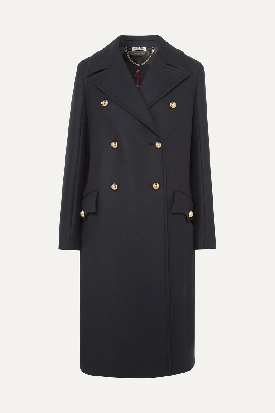 Miu Miu Manteau à double boutonnage en serge de laine