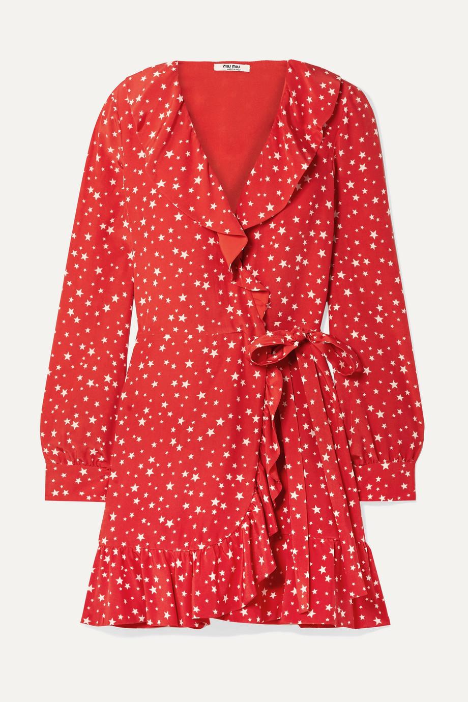 Miu Miu Bedrucktes Mini-Wickelkleid aus Seiden-Crêpe mit Rüschen