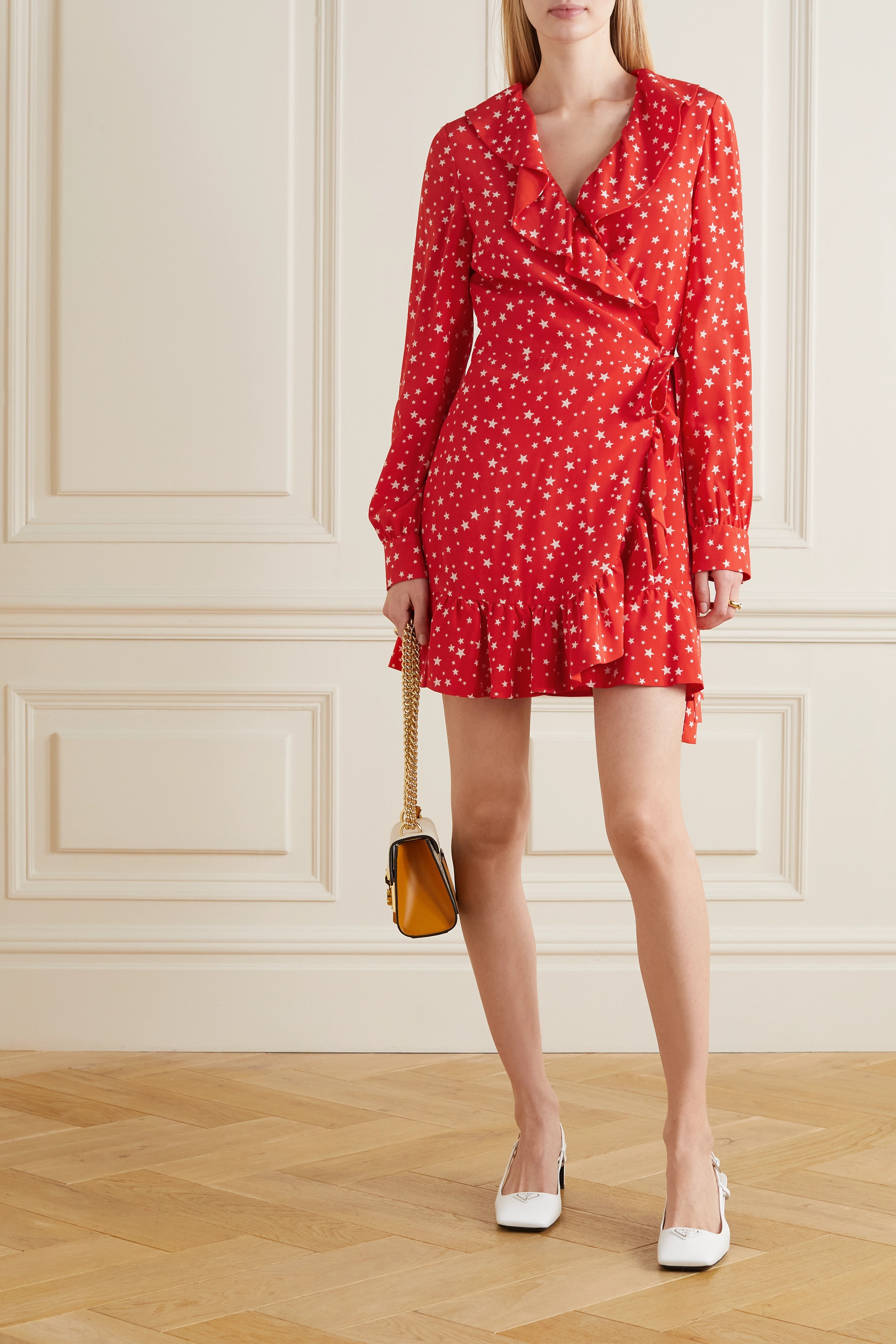 Miu Miu Ruffled printed silk-crepe wrap mini dress