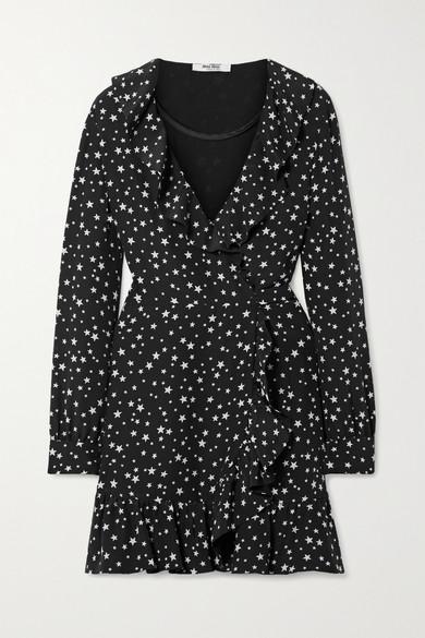 Miu Miu Dress Ruffled printed silk-crepe wrap mini dress