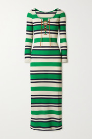Lace-up striped ribbed-knit midi dress
