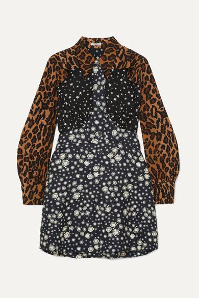 Leopard-Print Contrast-Panel Silk Dress in Black from MIU MIU