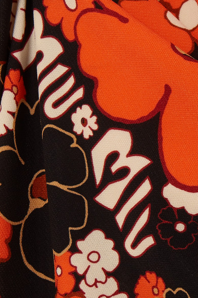 Miu Miu Dress Lace-up floral-print stretch-jersey maxi dress