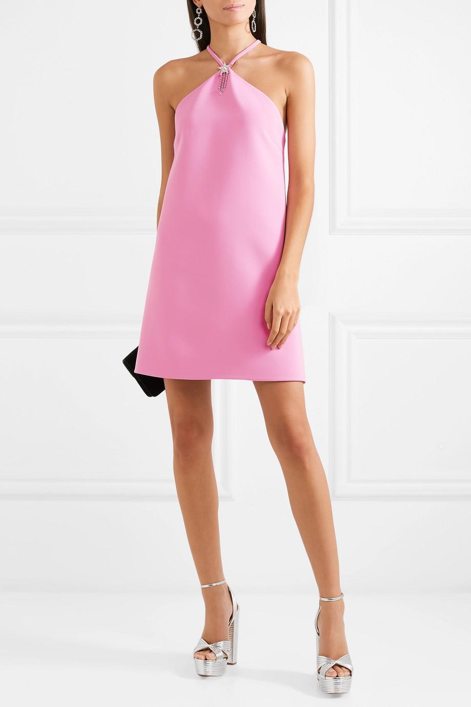 Miu Miu Embellished halterneck cady mini dress