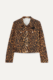 Miu Miu Cropped leopard-print denim jacket