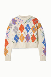 Cropped argyle wool sweater