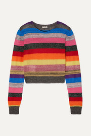 Miu Miu Cropped metallic striped knitted sweater