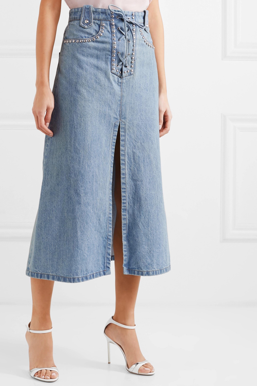 Miu Miu Lace-up studded denim midi skirt
