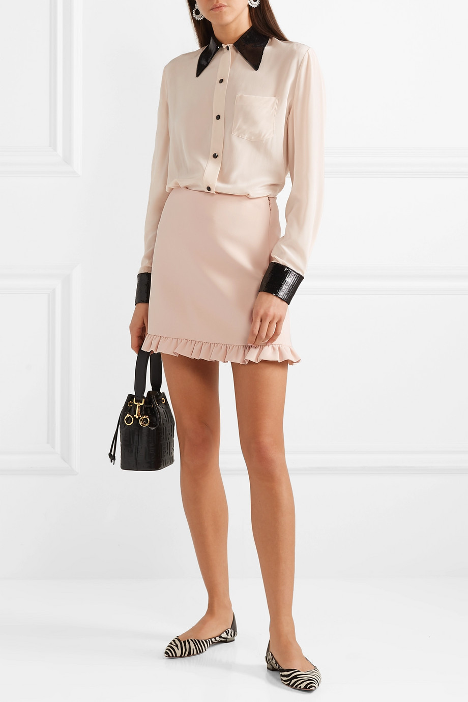 Miu Miu Ruffled cady mini skirt