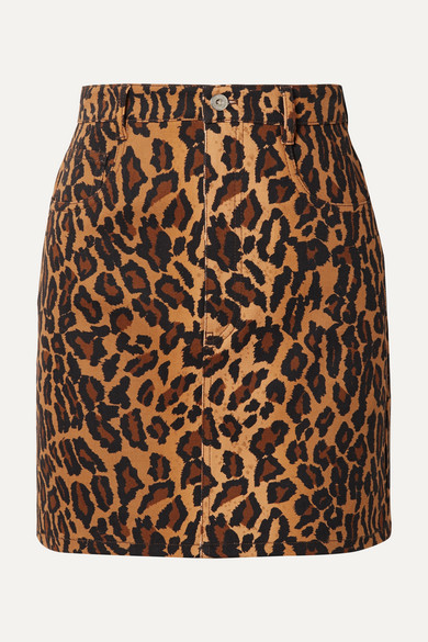 Appliquéd Leopard-Print Denim Mini Skirt in Brown