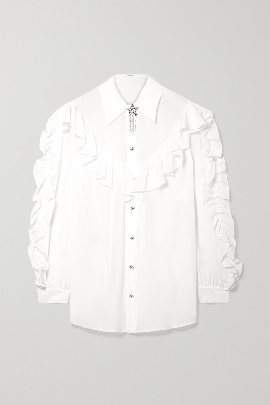 Miu Miu Crystal-embellished ruffled silk-georgette blouse