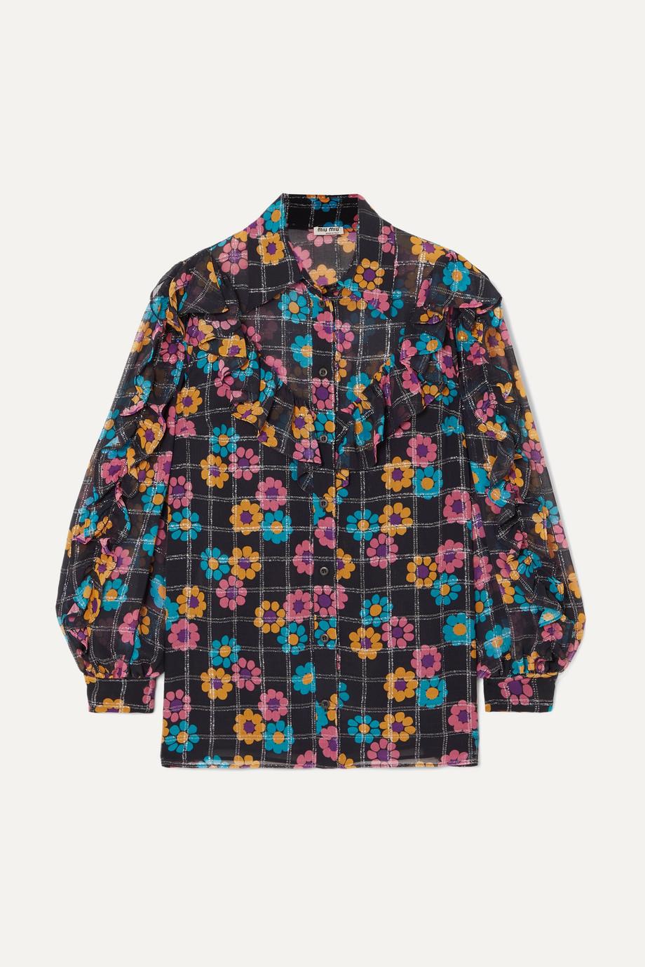 Miu Miu Ruffled floral-print georgette blouse
