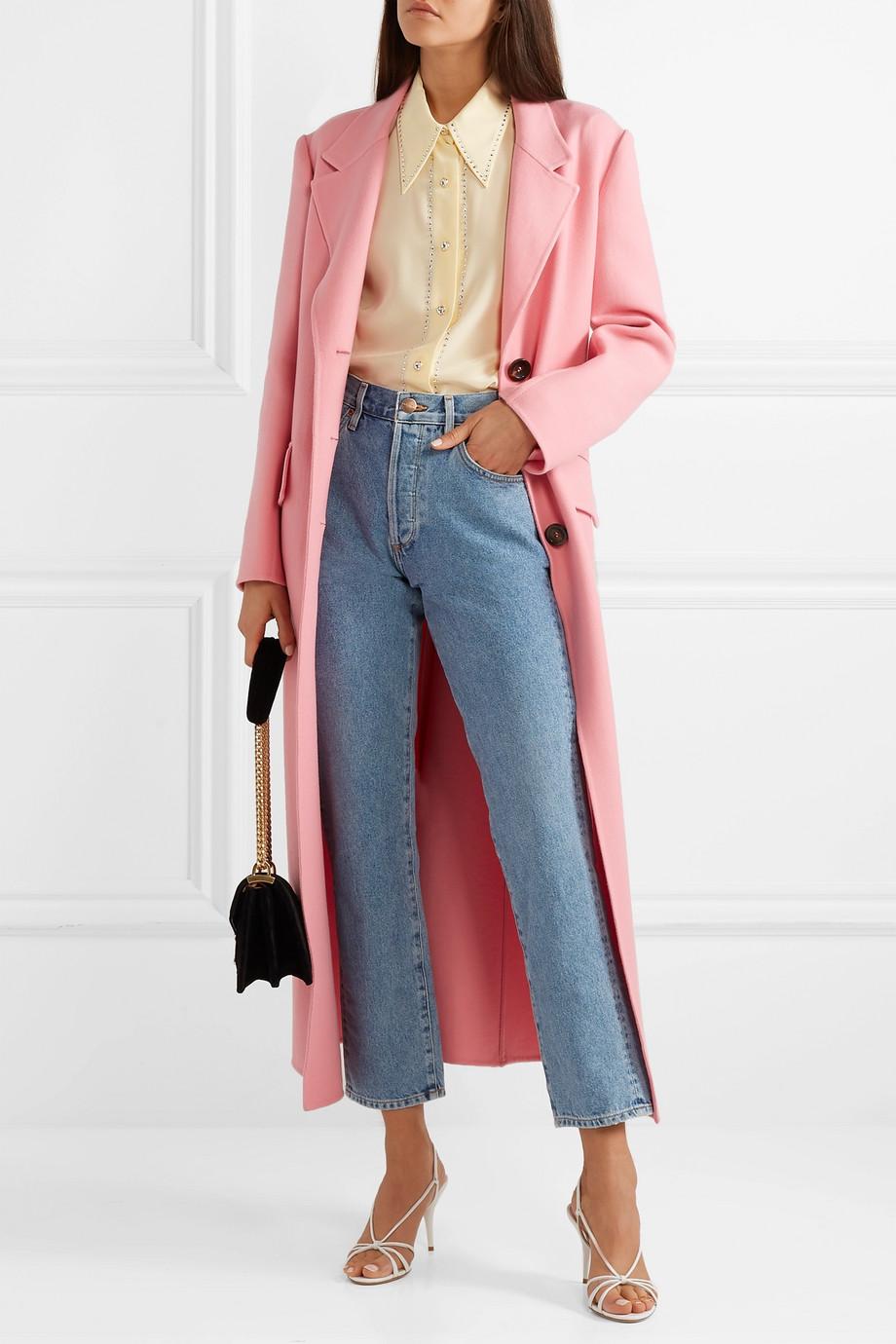 Miu Miu Crystal-embellished silk-georgette blouse