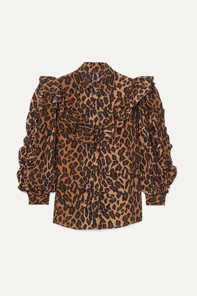 Miu Miu Tops Ruffled leopard-print silk-georgette blouse
