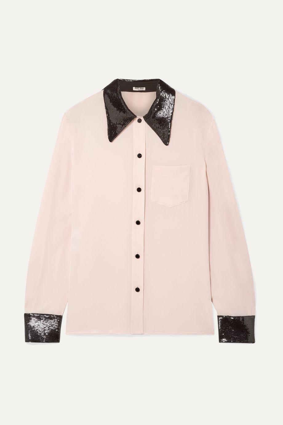 Miu Miu Sequined silk crepe de chine shirt