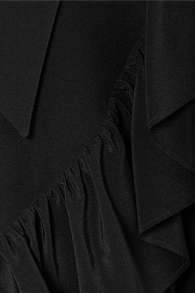 Miu Miu Tops Embellished ruffled silk crepe de chine top
