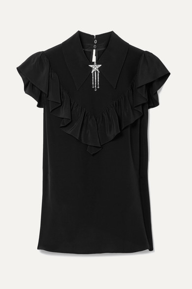 MIU MIU | Miu Miu - Embellished Ruffled Silk Crepe De Chine Top - Black | Goxip
